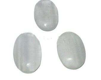 Large Selenite Cabochon - white stone crystal cab - clearance sale irregular imperfect - oval - 30 to 40 mm coyoterainbow extra big discount
