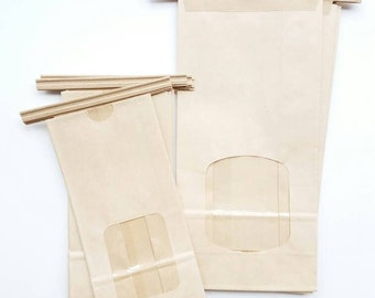Kraft bags with metal ties and window