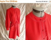 ON SALE 60s Dress // 70s Dress // Vintage 1960s 1970s Tomato Red Dress with Great Patch Pockets and Cute Buttons Size M L up to 34 waist