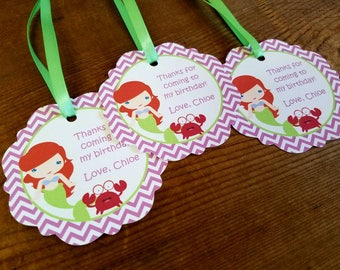 Ariel & Friends Party - Set of 12 Personalized Favor Tags by The Birthday House