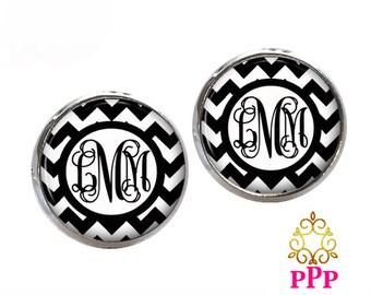 Chevron Monogram Earrings, Personalized Earrings, Initial Earrings, Bridesmaid Gift, Monogram Jewelry(527)