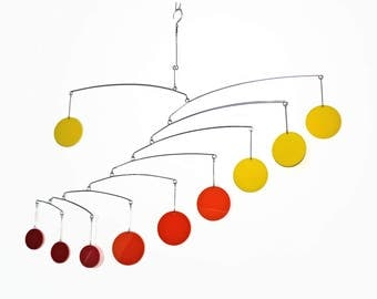 Outdoor Mobile in Hombre Warm Colors - Perfect for the Nursery or Patio - Bright Circles For a Pop of Color in your Life