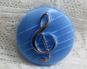 Vintage Light Blue Glass Treble Clef with Gold Luster Vintage 50's Button Music
