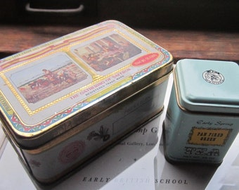 Vintage Tin's * 2 Tin Boxes * Tea * Herbs *The Gathering Of Saffron * John Wagner and Sons Tin * Import Export * Trade and Merchants *