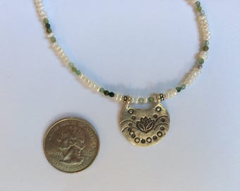 Long Necklace — Hill Tribe Village Lotus Blossom, Tiny Freshwater Pearls, Rhyolite Rounds