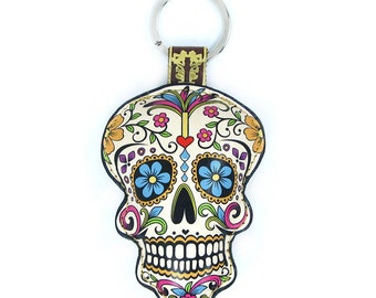 Leather  Sugar Skull / Day of the Dead / Dia de Muertos Keychain / Keyring / Bag Charm