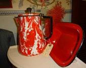 Vintage RED/WHITE SWIRL enamel porcelain coffee pot, no insides, Wonderful Kitchen Display