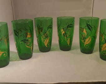 20% OFF Emerald Green & Gold Leaf Accent Tumblers, 6 Glasses Set Drinkware Culver #B490