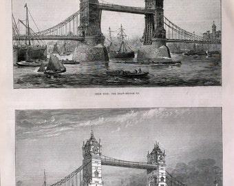 Antique Victorian Print - Drawbridge on the River Thames - September 5, 1885 - London