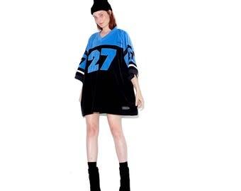 vintage 90s VELVET JERSEY / worlds cutest oversized jersey sports jersey dress shirt dress boyfriend jersey  boyfriend shirt 90s hip hop