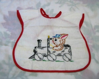 Baby Bib, Bunny In A Train, Bib with Embroidery, Hand Embroidered White with Red Trim, Retro Baby, New Embroidery Vintage Bib