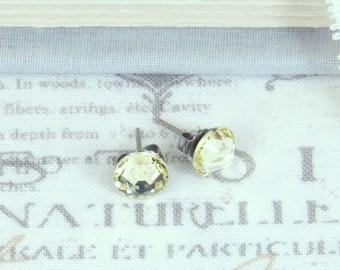 Yellow Crystal Studs Yellow Stud Earrings Light Yellow Earrings Crystal Stud Earrings Surgical Steel Studs