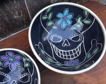 Sugar Skull Serving Bowl / Day of the Dead / Dia de los Muertos