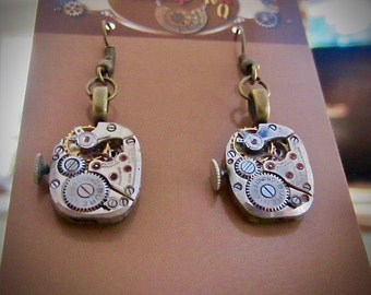 Steampunk Earrings - Watch Movements - made with real vintage watch parts - Repurposed art