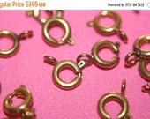 WINTER SALE Raw Brass Round Spring Ring Clasps - 5mm - 20 pcs