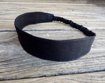 Fabric Headband with Elastic: Black Cotton