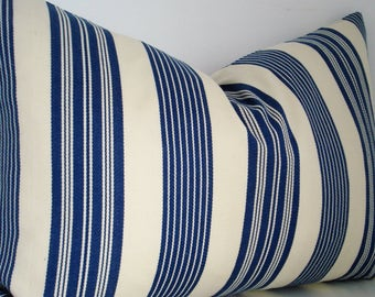 INDIGO IVORY STRIPE Covers- - Decorative Designer Pillow Covers - Stripe -Throw/Lumbar /Bolster Pillows
