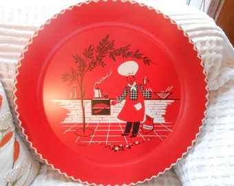 Jumbo vintage BBq tray, Mid Century Modern Large Red 1950s Marceline STOYKE BBQ-ing Chef Platter