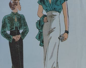 Retro Butterick Pattern 6410 Misses Jacket and Dress Pattern Close fitting jacket,flared floor length Reproduction Pattern 1935 Style.