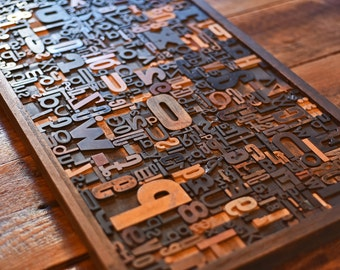 Wall Art or Coffee Table - Full Drawer of Wood Type Letterpress Printing Blocks Mix