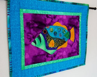 Fish Wall Art Quilt Wall Hanging Tropical Batik Colorful Applique Original Design OOAK Handmade