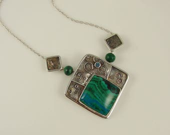Chrysocolla/Malachite Sterling Silver Pendant with Blue Zircon