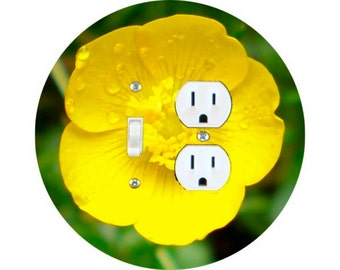 Buttercup Flower Toggle Switch and Duplex Outlet Double Plate Cover