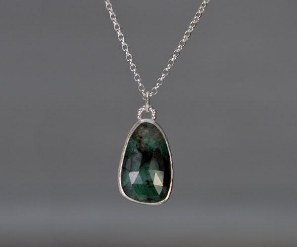 Rose Cut Emerald Necklace