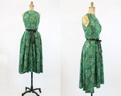 50s Dress Anne Fogarty XS / 1950s Vintage Dress Tree Print Novelty / Tree of Life Dress