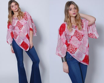 Vintage 90s PRINTED Tunic Floral PATCHWORK Print Hippie Top 70s Style Boho Poncho Top
