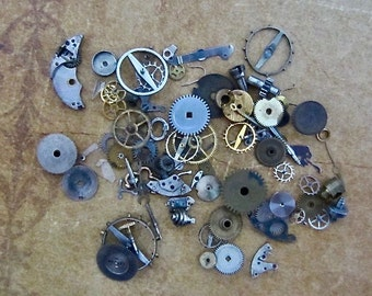 Vintage WATCH PARTS gears - Steampunk parts - K33 - Listing is for all the watch parts seen in photos