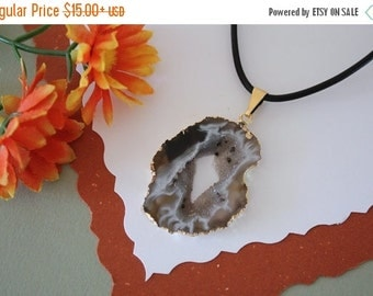 SALE Druzy Necklace Gold, Geode Necklace, Crystal Necklace, Gold Geode Slice Druzy,GG65