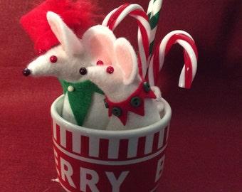 Felt Mice in  Christmas Mug