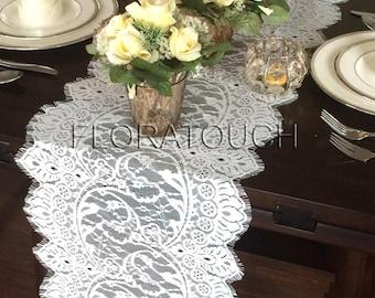 """White Lace Table Runner Wedding Table Runner 118""""x13"""""""