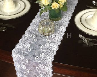 """Floral Swirl White Lace Table Runner Wedding Table Runner 9"""" wide Style LFS06"""