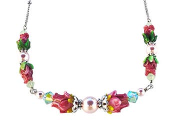 Rose of Sharon Glass Lampwork Beaded Necklace with Crystals from Swarovski