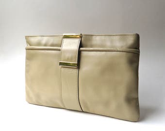 70s/80s vintage Beige  Leather Clutch