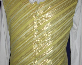 """Unique Daring Yellow Metallic Stripe  Vest Waistcoat 42""""  Perfect for the Pirate or Gentleman  (V43)"""