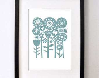 Blue Summer Garden - Open Edition Giclee Print From an Original Paper Cut
