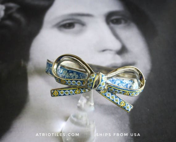 Bracelet Bangle Tiles Portugal  Antique Azulejo Tile Replicas Aveiro,  Palacete do Visconde da Granja Bow