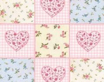 Dollhouse Miniature Small Scale Computer Printed Pink and Blue Hearts Patchwork Quilt Roses Floral Fabric
