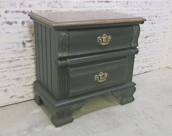 2-Drawer Nightstand / End Table Chest, Distressed Black Cottage Style  - NS1202 Shabby Farmhouse Chic