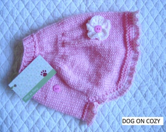 Flared Dog Sweater, Hand Knit Sweate for Pet, Size SMALL, Sweater Cape Pink