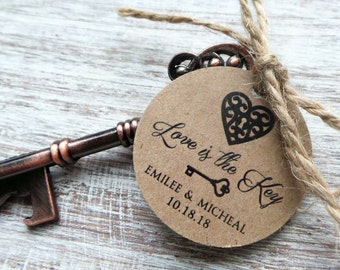 Vintage Copper Key Bottle Opener Favor w/ Personalized Tag 25qty + /Wedding Favor/Shower Favor