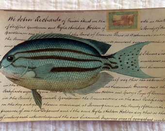 "Decoupage Glass Tray ""Blue Fish"""