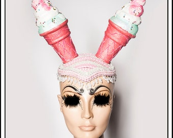 Lick Me…. Pink Ice Cream Cone Hat with Glitter Headdress