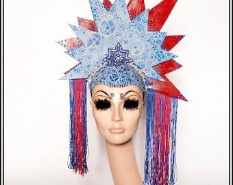 StatueEsque.... Satanic America Themed Headdress With Pentagrams