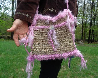 handknit rustic hemp art yarn boho shoulder bag - pink petal land