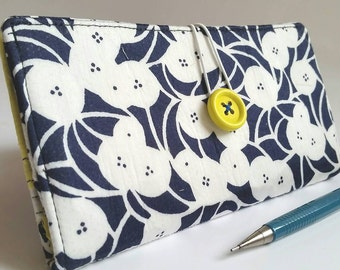 CHECKBOOK COVER in Navy Blue and White Modern Floral - Morning Glory