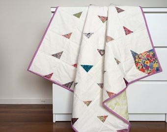 Patchwork Cot / Throw Quilt - Liberty Leaf